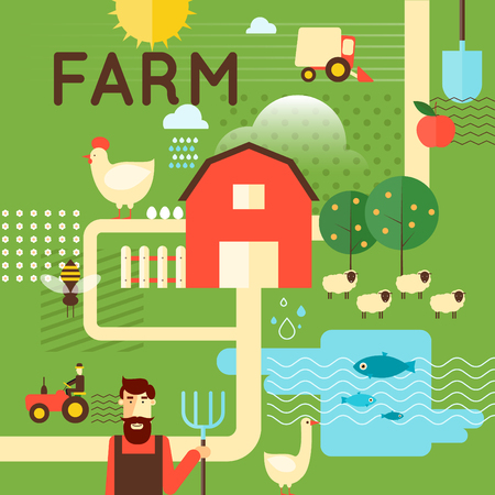 farm field: Farm poster concept. Harvesting, agriculture. Flat design vector illustration