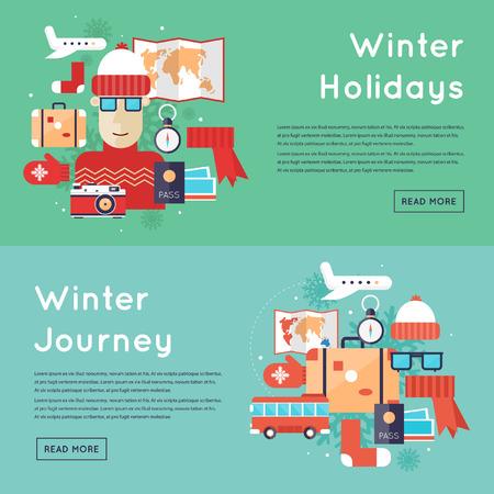 turismo: turismo vacaciones de invierno, viajes de invierno, vacaciones de invierno. ilustración vectorial diseño plano. Vectores