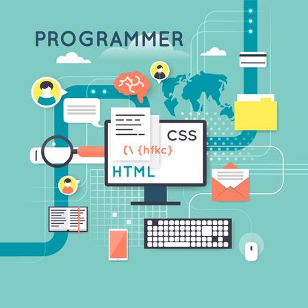 manos: Programming and coding concept. Flat design vector illustration.