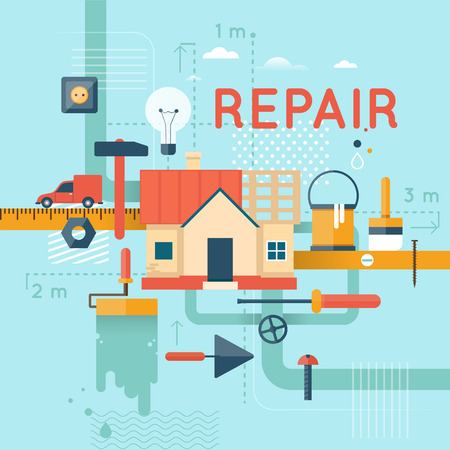 restoration: Home repair, home construction. Home improvement painting brush, measuring, laying masonry, cut. Flat design vector illustration