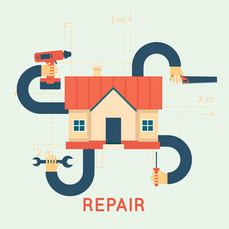 handyman: Building, repair and decoration works. A set of tools for the repair, construction. Flat design vector illustration.