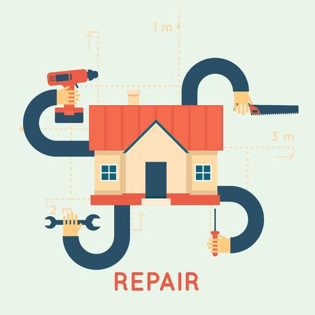 Construcción, reparación y decoración obras. Un conjunto de herramientas para la reparación, construcción. Ilustración vectorial Diseño plano.