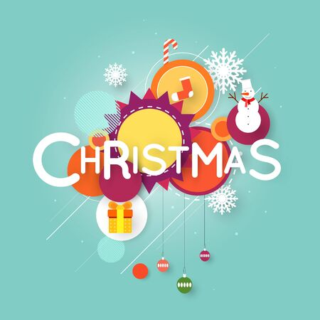 Merry Christmas and Happy New Year poster with stylish text, postcard, banner, printed matter, greeting card. Flat design.