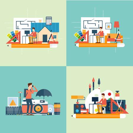 interior designer: Photographer, designer, architect, interior designer. Flat design illustration. Illustration