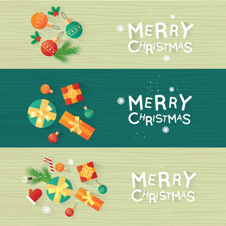 happy new years: Merry Christmas and Happy New Year. New Years toys, gifts on the wooden table top view and text. Postcard, banner, printed matter, greeting card. Flat design.