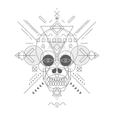 decrepit: Skull painted geometric shapes, thin line. Illustration