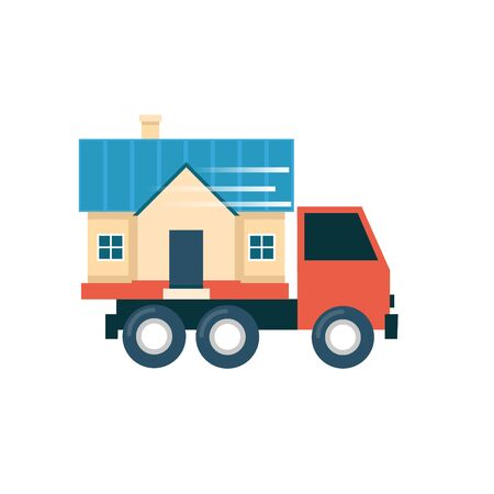 to unload: Truck carries home a crossing, housewarming. Flat design illustration. Illustration
