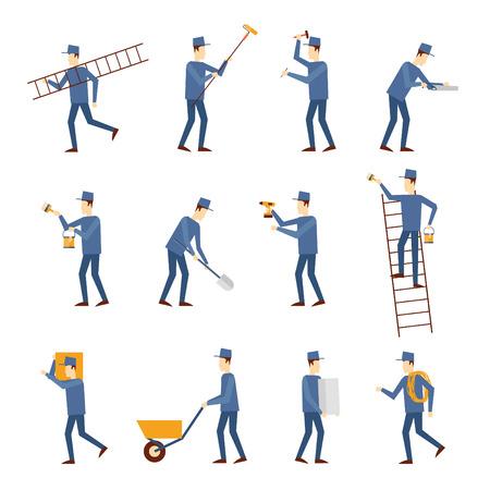 obrero trabajando: Conjunto de trabajador de la construcción que trabajan con diferentes herramientas. Ingeniero de construcción Trabajador Constructor. Ilustración Diseño plano.
