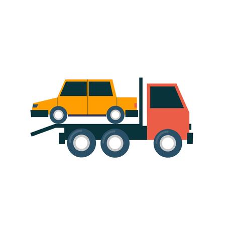 driven: Tow truck driven cars. Flat design illustration.