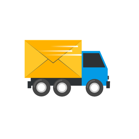 carries: Truck carries a letter, e-mail. Postal Vehicles. Flat design illustration.