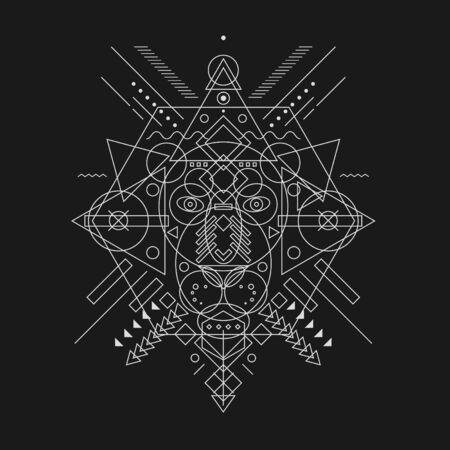 Lion's Head getrokken geometrische vormen, dunne lijn.