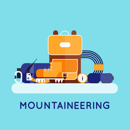 mountaineer: Mountaineer. Mountain climbing. Rock climber. Extreme sport. Flat style illustration.