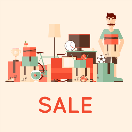sales person: Sale items, Preparing a Garage Sale. Flat design illustration.