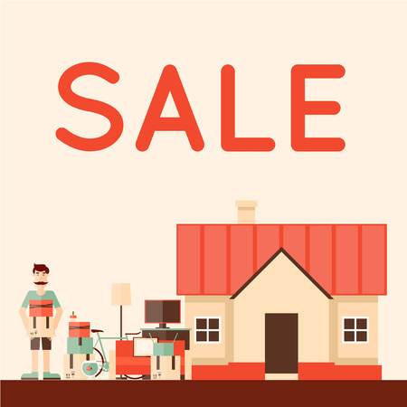 yards: Sale items, Preparing a Garage Sale. Flat design illustration.