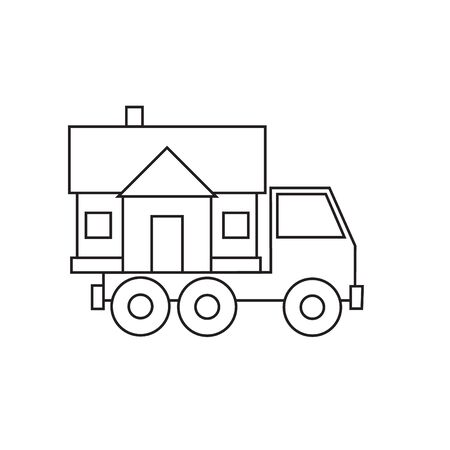 housewarming: Truck carries home a crossing, housewarming thin line isolated on white background. Flat design  illustration. Illustration