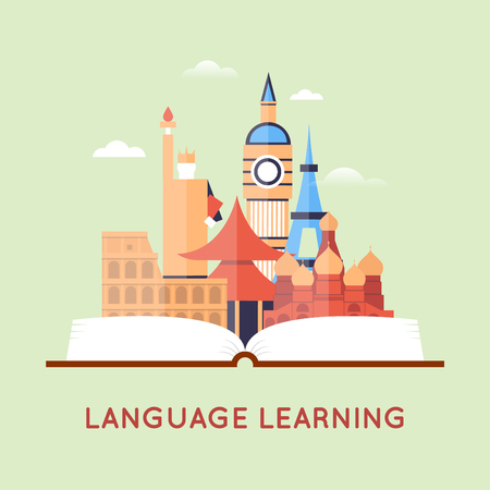 Learning foreign languages. Flat design illustration. Illusztráció