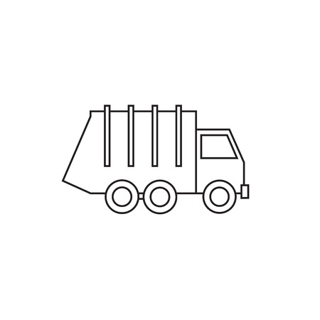 Garbage truck thin line isolated on white background. Flat design illustration. Vectores