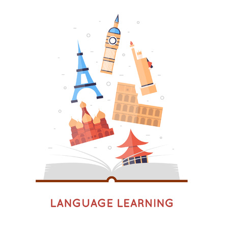 Learning foreign languages. Flat design illustration.  イラスト・ベクター素材
