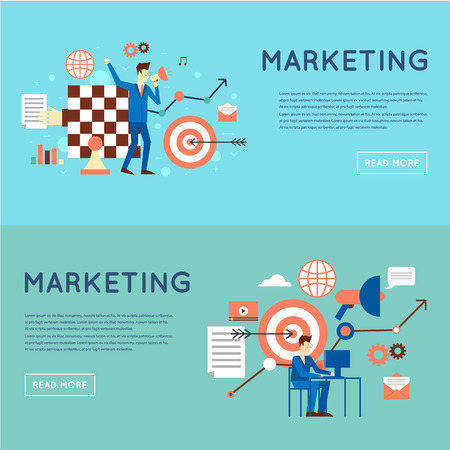 Marketing Strategy: Marketing mobile, email marketing, video marketing and digital marketing, strategy and digital marketing. Flat design illustration.