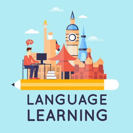 Nauka języków obcych. Płaski projektowania ilustracji. Ilustracje wektorowe