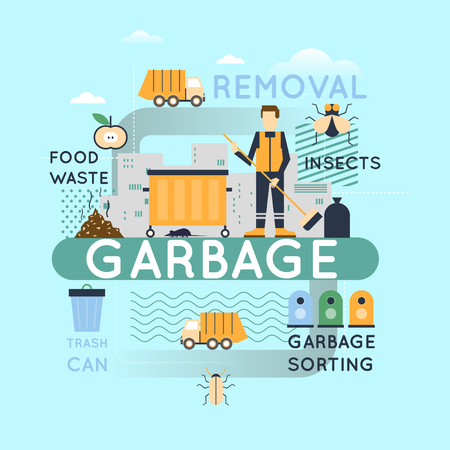 garbage collection: Garbage and garbage collection info-graphics. Flat design illustration.