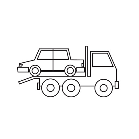 driven: Tow truck driven cars thin line isolated on white background. Flat design illustration.