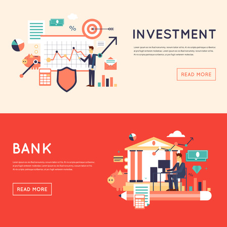 strategic management: Making investments, growing business profit, strategic management, business, finance, consulting, building effective financial strategy. Flat design illustration.
