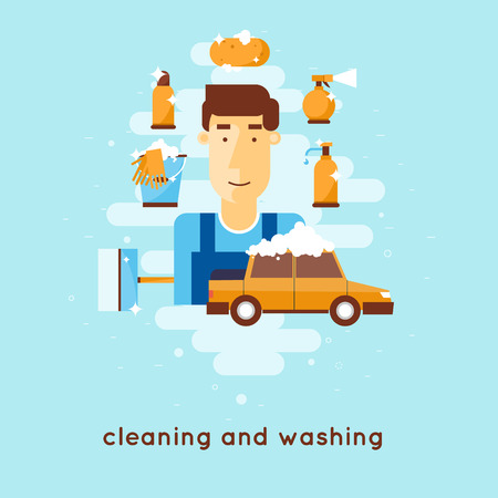 hand wash: Cleaning and washing car.
