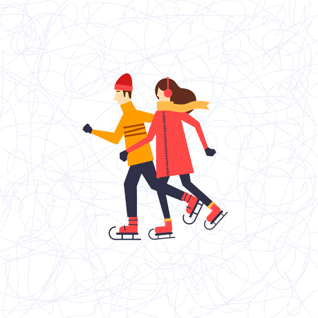healthy kid: Man and a woman skating.