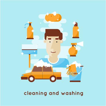 washing car: Cleaning and washing car.