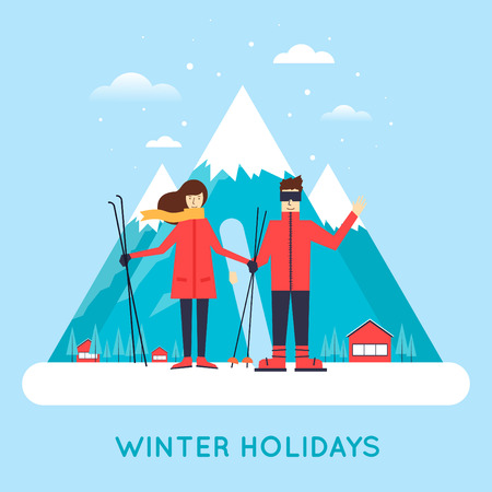 colorado mountains: Man and women skiing and snowboard mountains in the background.  Illustration