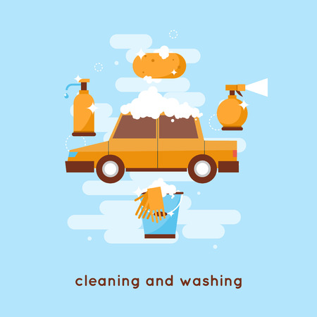 valeting: Cleaning and washing car Flat style illustration