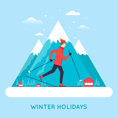 Man skiing mountains in the background. Illustration