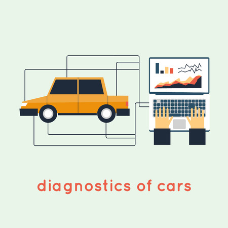 automotive repair: Auto Diagnostics. Flat style vector illustration