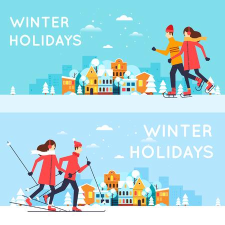ni�o en patines: Pareja de patinaje y esqu�. Paisaje urbano del invierno, diversi�n del invierno, vacaciones de invierno, deportes de invierno, al aire libre. A�o nuevo. Ilustraci�n vectorial Dise�o plano.