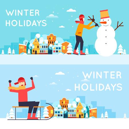 winter snow: Boys sledding, sculpt snowman.  Illustration