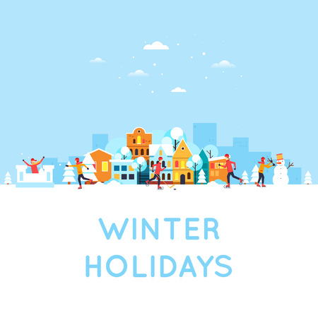 winter vacation: People doing an active winter vacation, winter sports, outdoors.