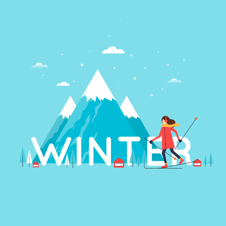 winter vacation: Girl skiing mountains in the background. Illustration