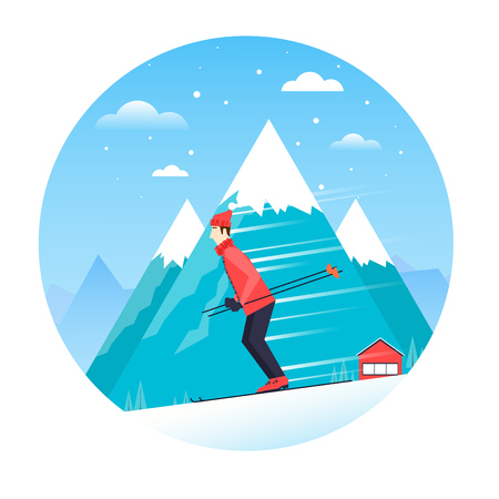 Man rides on the ski mountains in the composition of the circle. Flat design illustration. Illustration