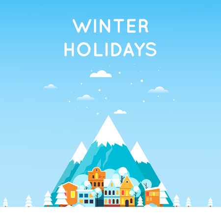 Winter landscape with mountains and the old village town. Winter landscape. New year. Flat design vector illustration.