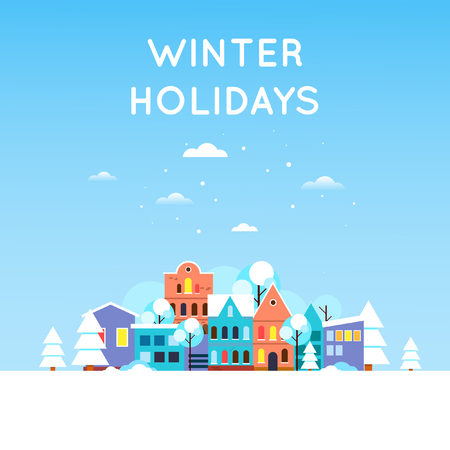Paysage d'hiver de la ville couverte de neige, la vieille ville. Nouvel An. Design plat illustration vectorielle.