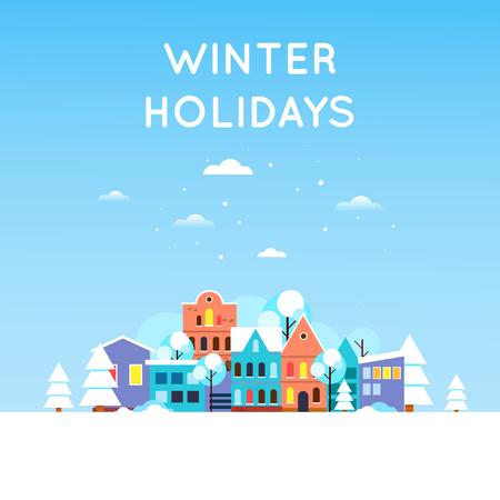 Winterlandschaft des verschneiten Stadt, Altstadt. Neujahr. Flaches Design Vektor-Illustration.