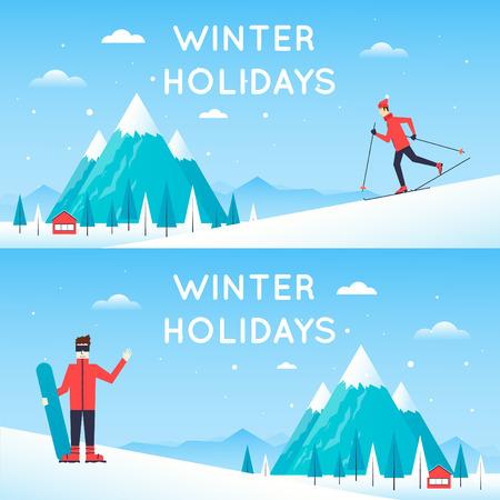 Man fährt von Berg auf Skiern, Mann hält einen Snowboard. Winter Landschaft mit Bergen. Winterlandschaft, Winterspaß, Wintersport, im Freien. Neujahr. Flaches Design Vektor-Illustration. Vektorgrafik