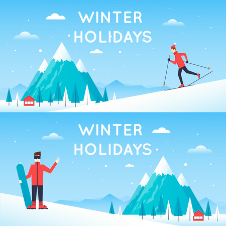 winter fun: Man rides from mountain on skis, Man holding a snowboard. Winter landscape with mountains. Winter landscape, winter fun, winter sports, outdoors. New year. Flat design vector illustration.