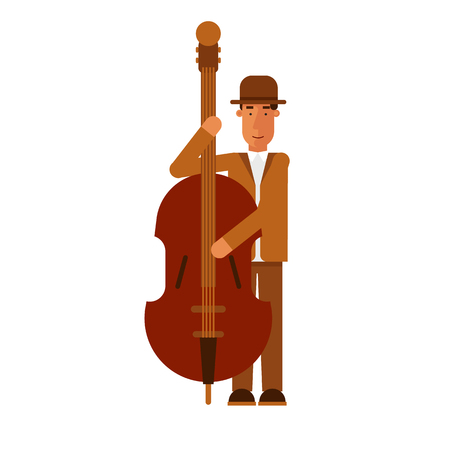 string instrument: Jazz man playing contrast-bass on the isolated background. Flat design illustration. Illustration