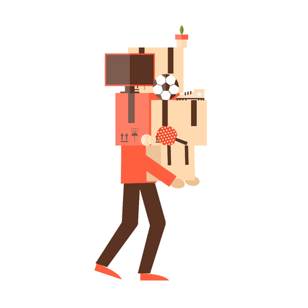 layman: Moving man carries boxes.