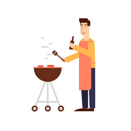 summer holidays: Man with a barbecue grill on a white background. Flat design vector illustration.