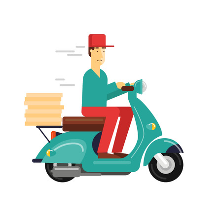 pepperoni pizza: Pizza delivery boy riding motorbike, isolated on white background. Flat design vector illustration.