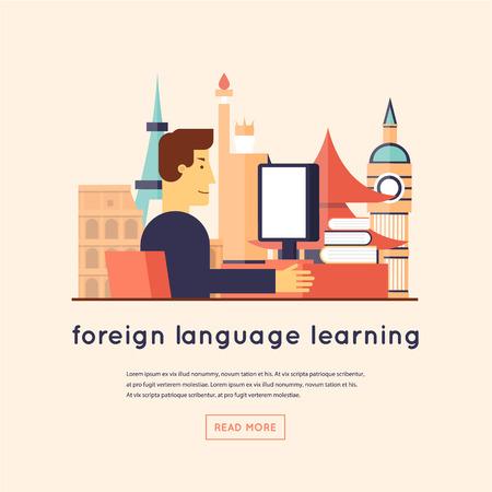 idiomas: Hombre que estudia las lenguas extranjeras. Ilustración vectorial Diseño plano.