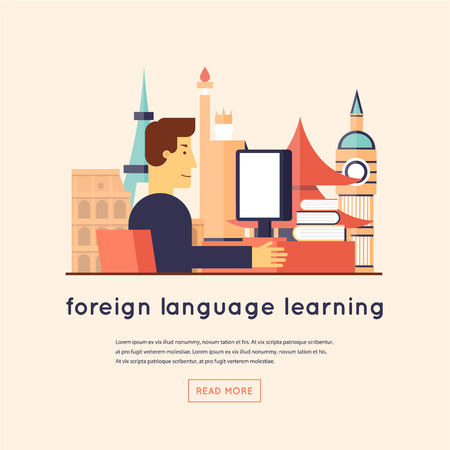 languages: Man studying foreign languages. Flat design vector illustration.